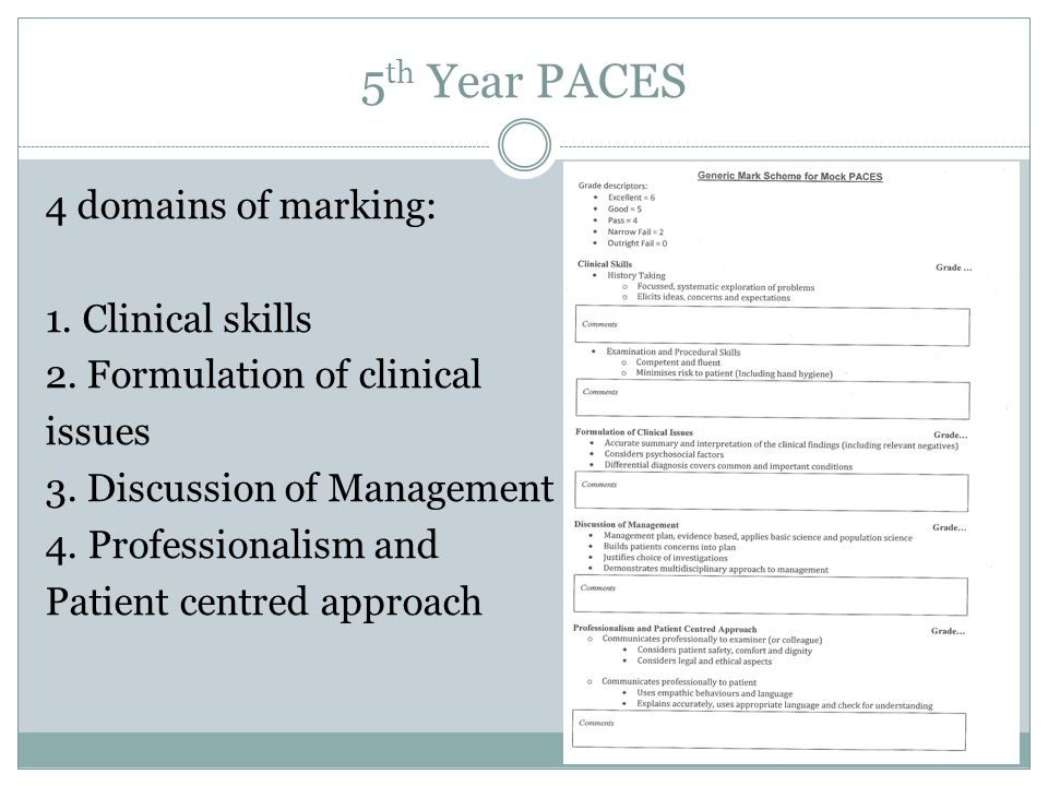 5 th Year PACES 4 domains of marking: 1. Clinical skills 2. Formulation of clinical issues 3. Discussion of Management 4. Professionalism and Patient