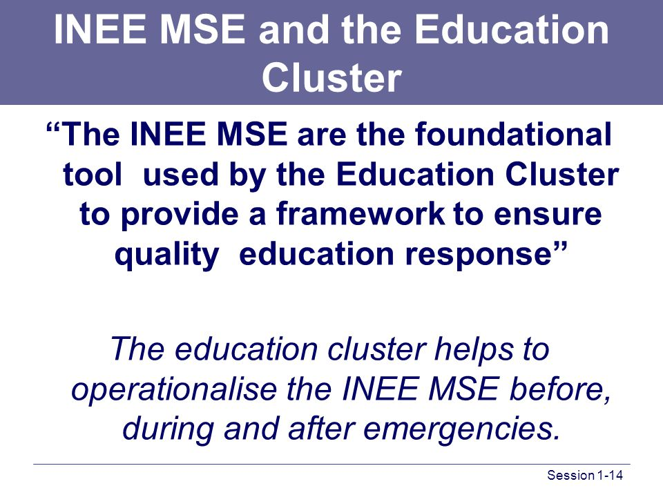 INEE MSE and the Education Cluster The INEE MSE are the foundational tool used by the Education Cluster to provide a framework to ensure quality education response The education cluster helps to operationalise the INEE MSE before, during and after emergencies.