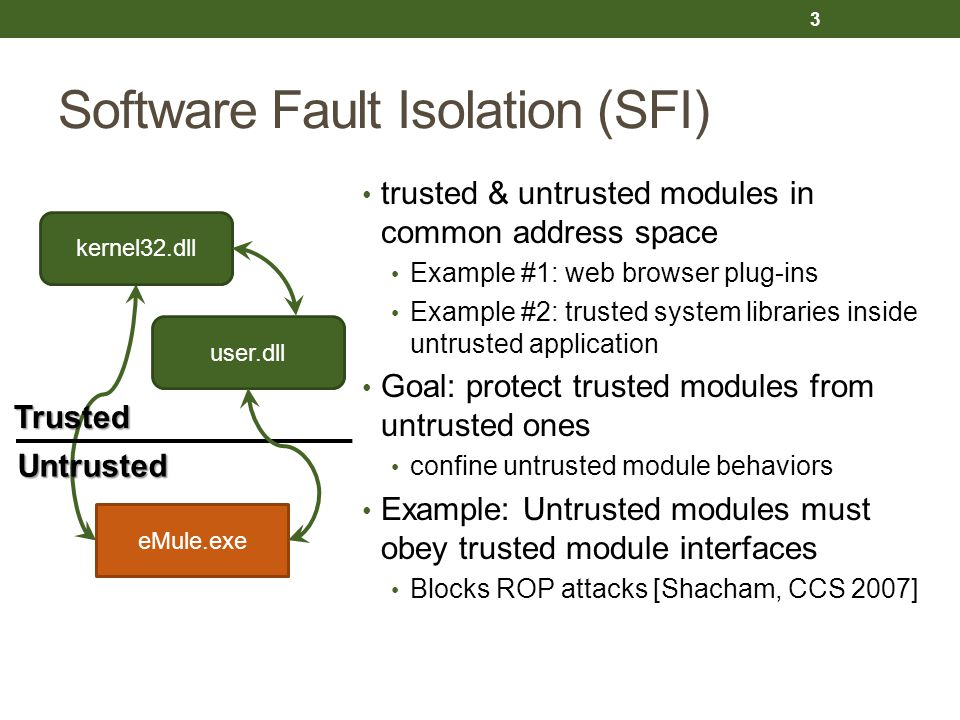 Software Fault Isolation (SFI) trusted & untrusted modules in common address space Example #1: web browser plug-ins Example #2: trusted system libraries inside untrusted application Goal: protect trusted modules from untrusted ones confine untrusted module behaviors Example: Untrusted modules must obey trusted module interfaces Blocks ROP attacks [Shacham, CCS 2007] 3 eMule.exe kernel32.dll user.dll Trusted Untrusted