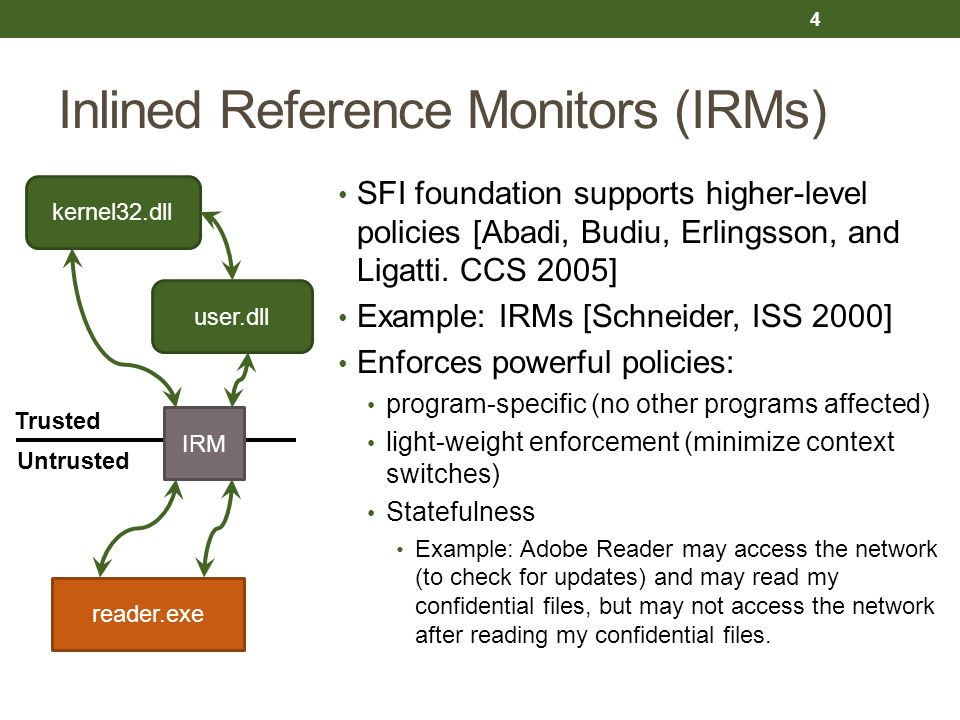 Inlined Reference Monitors (IRMs) SFI foundation supports higher-level policies [Abadi, Budiu, Erlingsson, and Ligatti. CCS 2005] Example: IRMs [Schne