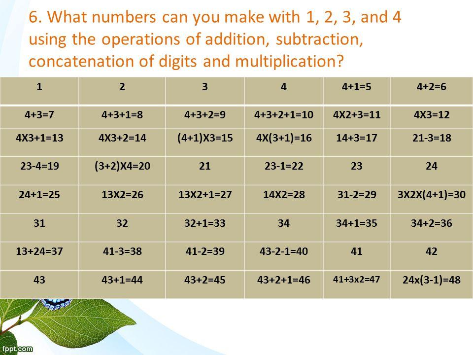 STRETCHING THE RULES (4+3) 2 =49(4+3) 2 +1=50(3+2)1=5113x4=52(4+1)3=5313x4+2=54 (3+2)(4+1)=55 (4+1)(3x2)=56 (3+2)(4+3)=57 52 3 =5853 2 =591(3+2)x4=60 4 3 -2-1=61(4+3-1)2=624 3 -1=634 3 =644 3 +1=654 3 +2=66 4 3 +2+1=6734x2=6834x2+1=693(4+1)x2=70(4+3)1=713x24=72 3x24+1=73(3x2+1)4=74(4+1) 2 x3=751(3 2 )x4=76(2 3 )1-4=773 4 -2-1=78 3 4 -2=793 4 -1=803 4 =813 4 +1=823 4 +2=833 4 +2+1=84 (2 3 )(4+1)=8543x2=8643x2+1=872(3-1)x4=8889.