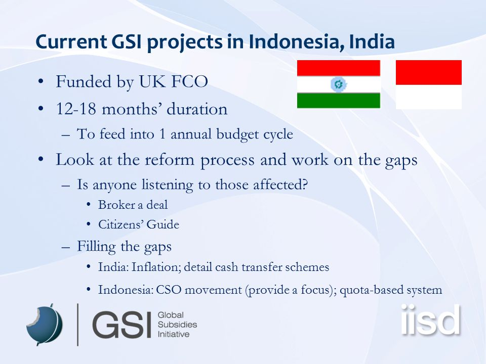 Current GSI projects in Indonesia, India Funded by UK FCO 12-18 months' duration –To feed into 1 annual budget cycle Look at the reform process and wo