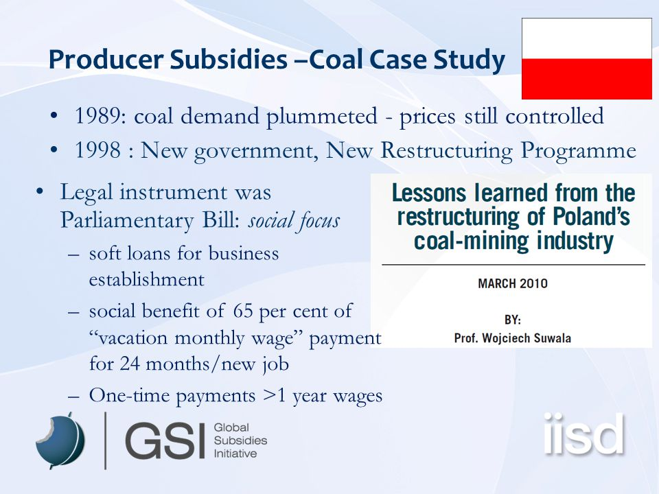 Producer Subsidies –Coal Case Study 1989: coal demand plummeted - prices still controlled 1998 : New government, New Restructuring Programme Legal instrument was Parliamentary Bill: social focus –soft loans for business establishment –social benefit of 65 per cent of vacation monthly wage payment for 24 months/new job –One-time payments >1 year wages