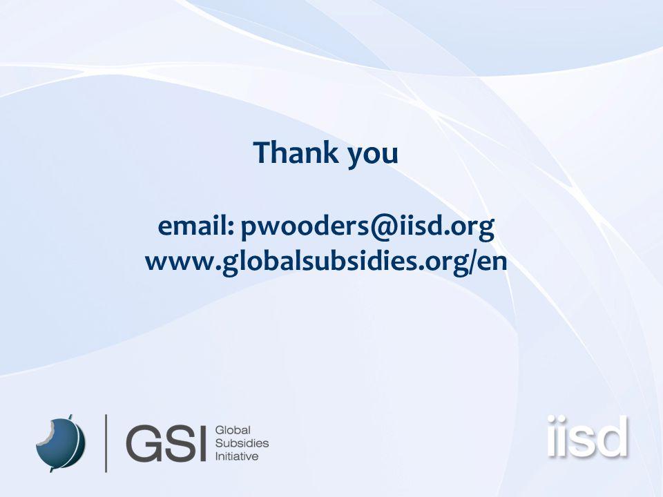 Thank you email: pwooders@iisd.org www.globalsubsidies.org/en