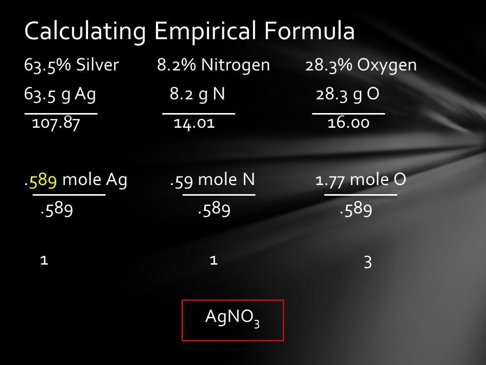 63.5% Silver 8.2% Nitrogen 28.3% Oxygen 63.5 g Ag8.2 g N28.3 g O 107.87 14.01 16.00.589 mole Ag.59 mole N1.77 mole O.589.589.589 1 13 AgNO 3 Calculati