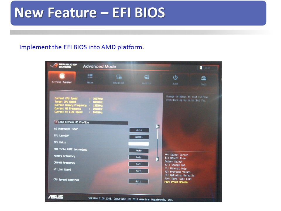 Implement the EFI BIOS into AMD platform. New Feature – EFI BIOS