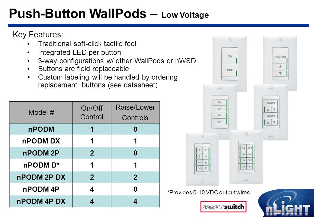 Push-Button WallPods – Low Voltage Key Features: Traditional soft-click tactile feel Integrated LED per button 3-way configurations w/ other WallPods