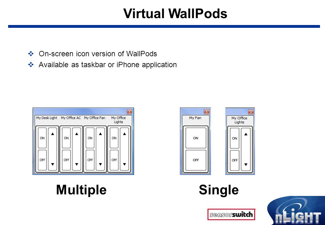 Virtual WallPods  On-screen icon version of WallPods  Available as taskbar or iPhone application MultipleSingle