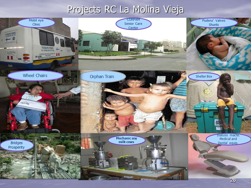 Projects RC La Molina Vieja 26 Orphan Train CORPAM Senior Care Center Pudenz' Valves Shunts Mobil eye Clinic Shelter Box Ambulnces Mechanic soy milk cows Wheel Chairs Dialysis machs.