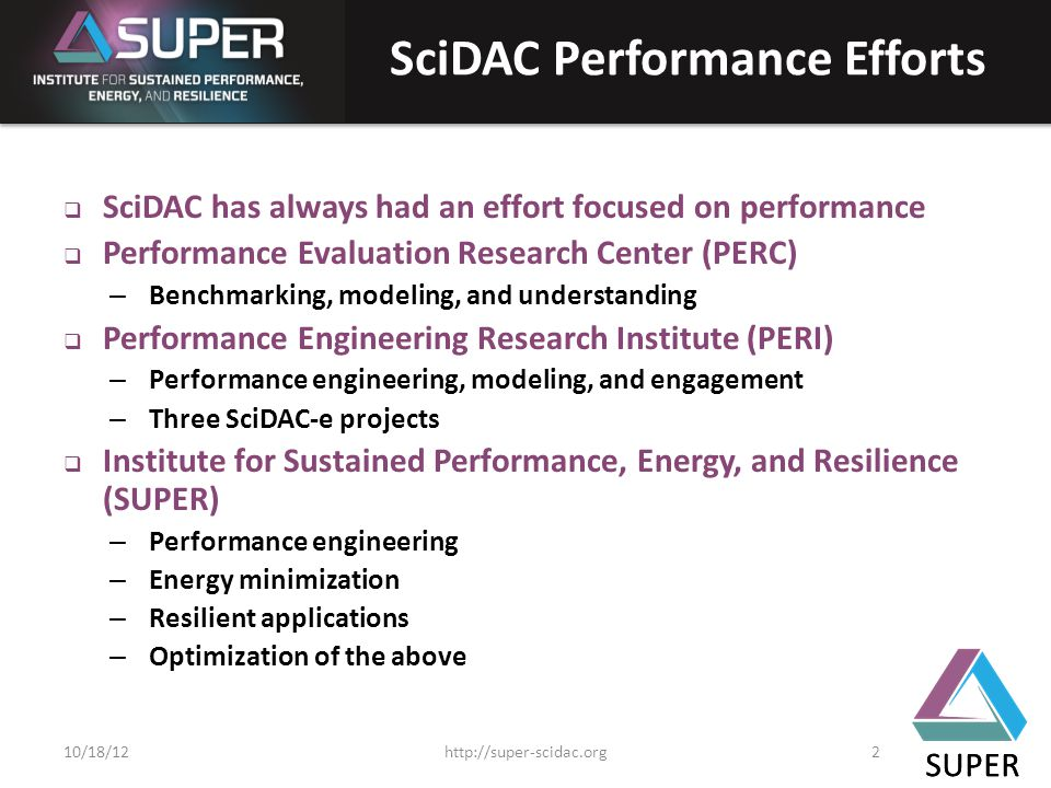 SUPER SciDAC Performance Efforts  SciDAC has always had an effort focused on performance  Performance Evaluation Research Center (PERC) – Benchmarking, modeling, and understanding  Performance Engineering Research Institute (PERI) – Performance engineering, modeling, and engagement – Three SciDAC-e projects  Institute for Sustained Performance, Energy, and Resilience (SUPER) – Performance engineering – Energy minimization – Resilient applications – Optimization of the above SUPER http://super-scidac.org210/18/12