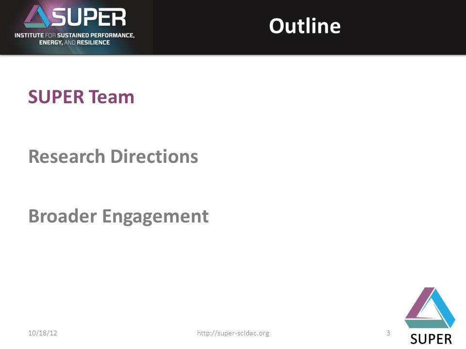 SUPER Outline SUPER Team Research Directions Broader Engagement SUPER http://super-scidac.org310/18/12