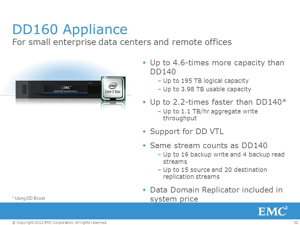 32© Copyright 2012 EMC Corporation. All rights reserved. DD160 Appliance For small enterprise data centers and remote offices  Up to 4.6-times more c