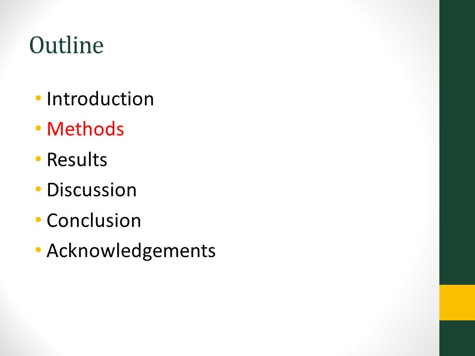Outline Introduction Methods Results Discussion Conclusion Acknowledgements