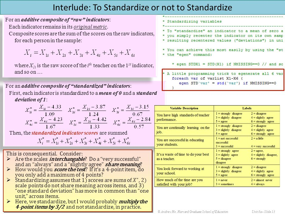 © Andrew Ho, Harvard Graduate School of EducationUnit 6a– Slide 13 Interlude: To Standardize or not to Standardize For an additive composite of standardized indicators: First, each indicator is standardized to a mean of 0 and a standard deviation of 1: Then, the standardized indicator scores are summed For an additive composite of standardized indicators: First, each indicator is standardized to a mean of 0 and a standard deviation of 1: Then, the standardized indicator scores are summed For an additive composite of raw indicators: Each indicator remains in its original metric.
