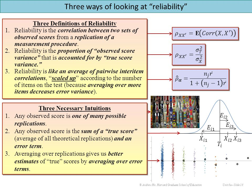 © Andrew Ho, Harvard Graduate School of EducationUnit 6a– Slide 16 Three ways of looking at reliability Three Definitions of Reliability 1.Reliability is the correlation between two sets of observed scores from a replication of a measurement procedure.