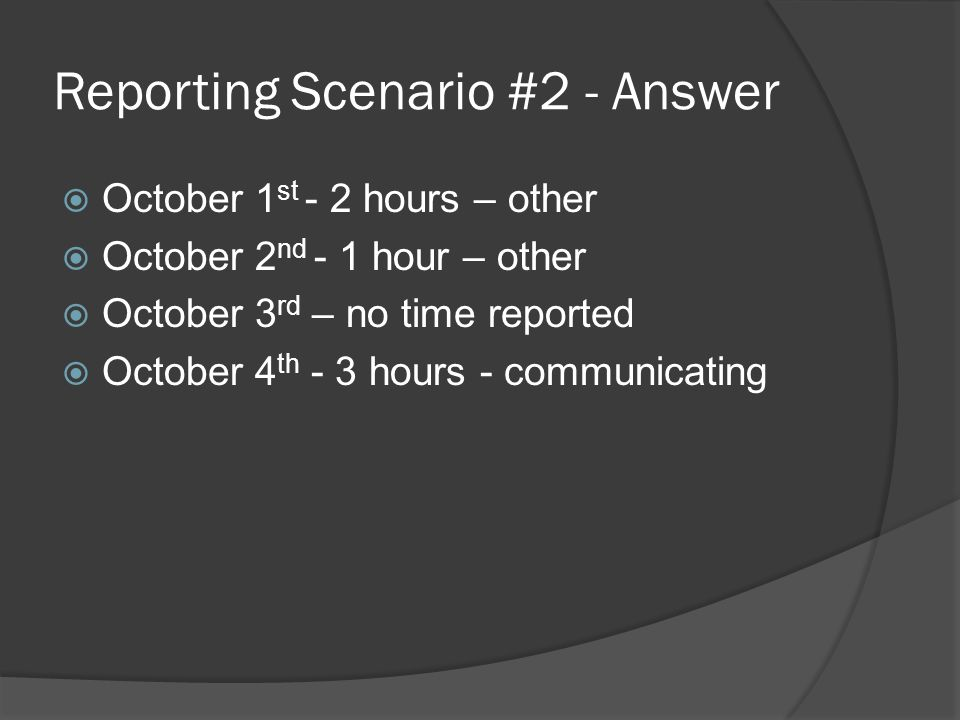 Reporting Scenario #2 - Answer  October 1 st - 2 hours – other  October 2 nd - 1 hour – other  October 3 rd – no time reported  October 4 th - 3 hours - communicating