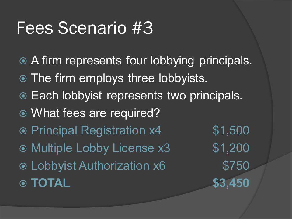 Fees Scenario #3  A firm represents four lobbying principals.