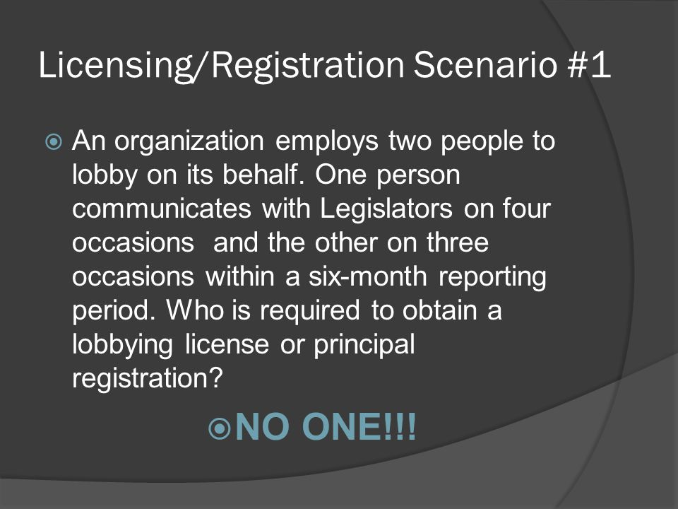 Licensing/Registration Scenario #1 AAn organization employs two people to lobby on its behalf.