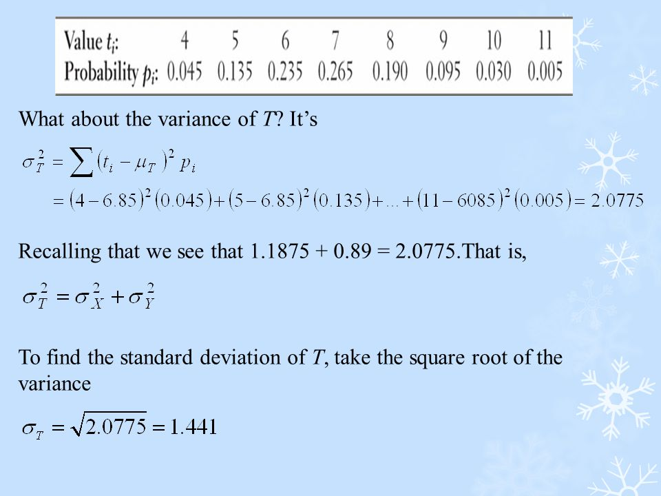 What about the variance of T? It's Recalling that we see that 1.1875 + 0.89 = 2.0775.That is, To find the standard deviation of T, take the square roo