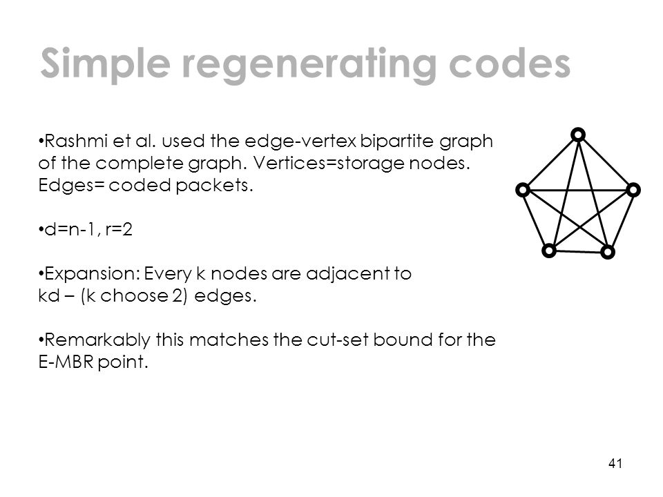 Simple regenerating codes 41 Rashmi et al.