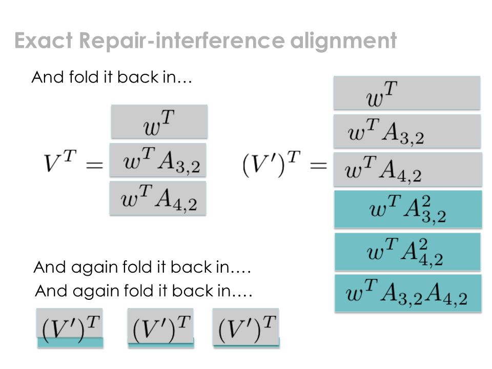 Exact Repair-interference alignment And fold it back in… And again fold it back in….