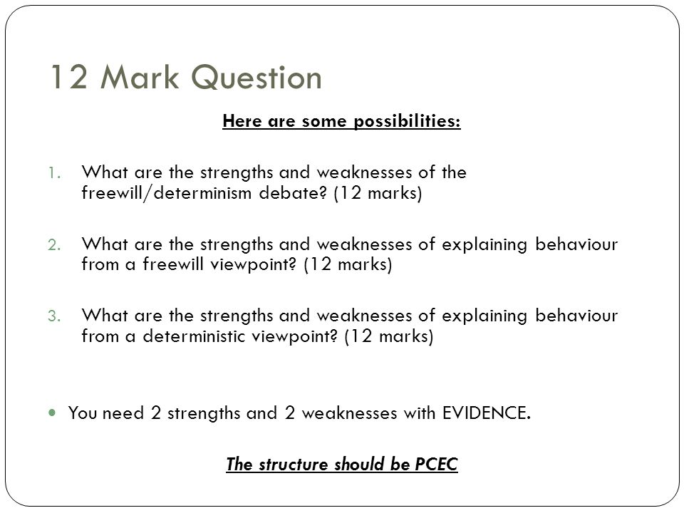 12 Mark Question Here are some possibilities: 1. What are the strengths and weaknesses of the freewill/determinism debate? (12 marks) 2. What are the