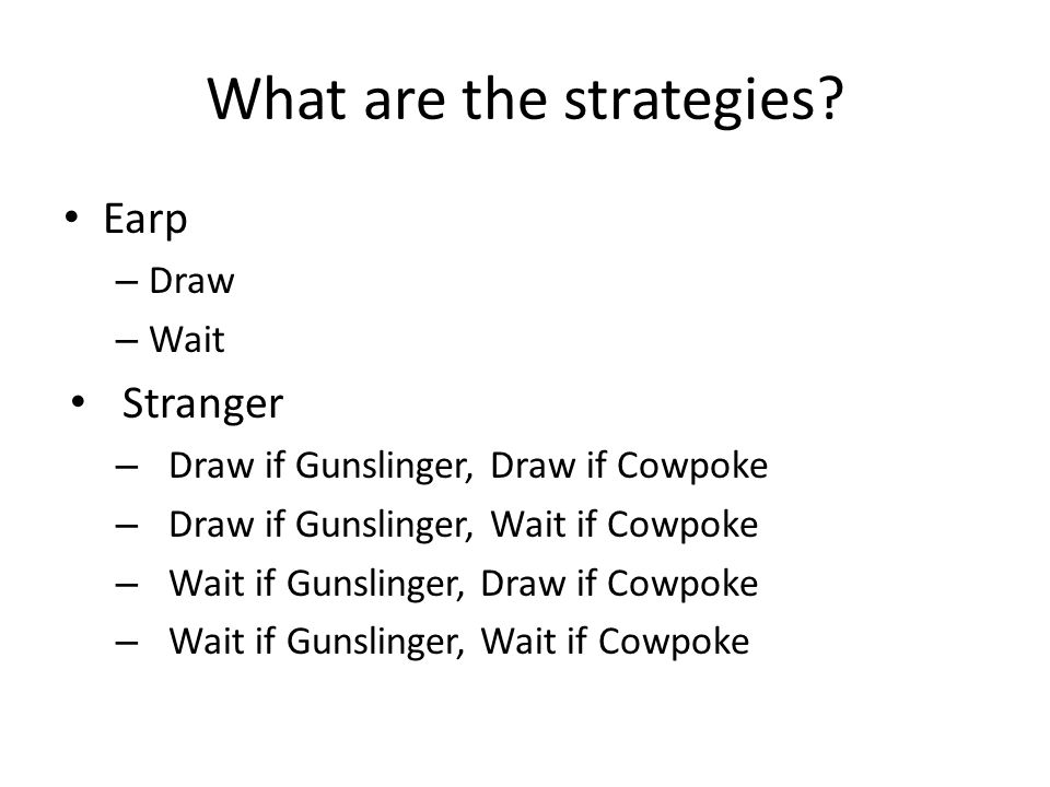 What are the strategies? Earp – Draw – Wait Stranger – Draw if Gunslinger, Draw if Cowpoke – Draw if Gunslinger, Wait if Cowpoke – Wait if Gunslinger,