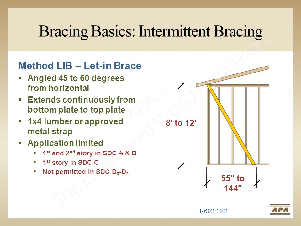 Bracing Basics: Intermittent Bracing Method LIB – Let-in Brace  Angled 45 to 60 degrees from horizontal  Extends continuously from bottom plate to top plate  1x4 lumber or approved metal strap  Application limited  1 st and 2 nd story in SDC A & B  1 st story in SDC C  Not permitted in SDC D 0 -D 2 55 to 144 8 to 12 R602.10.2 APA – The Engineered Wood Association