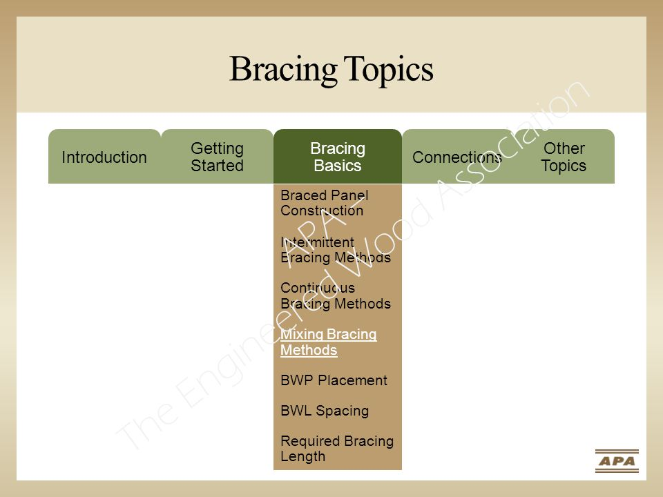 Bracing Topics Introduction Getting Started Bracing Basics Connections Other Topics Braced Panel Construction Intermittent Bracing Methods Continuous Bracing Methods Mixing Bracing Methods BWP Placement BWL Spacing Required Bracing Length APA – The Engineered Wood Association
