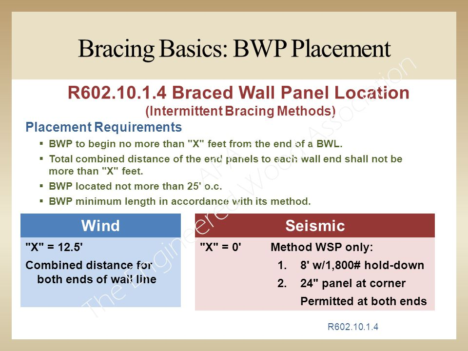Bracing Basics: BWP Placement Placement Requirements  BWP to begin no more than X feet from the end of a BWL.