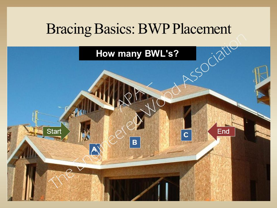 Bracing Basics: BWP Placement StartEnd A B C How many BWL s? APA – The Engineered Wood Association
