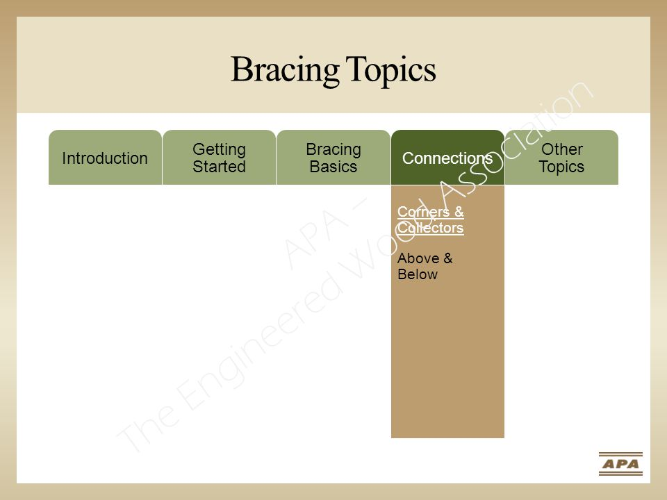 Bracing Topics Introduction Getting Started Bracing Basics Connections Other Topics Corners & Collectors Above & Below APA – The Engineered Wood Association