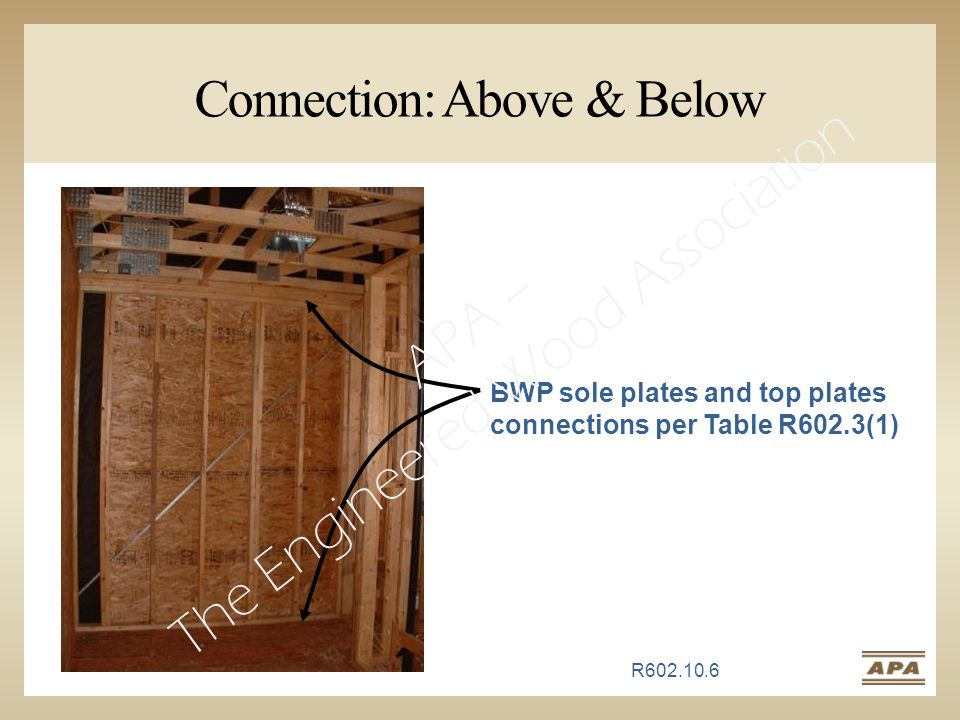 Connection: Above & Below BWP sole plates and top plates connections per Table R602.3(1) R602.10.6 APA – The Engineered Wood Association