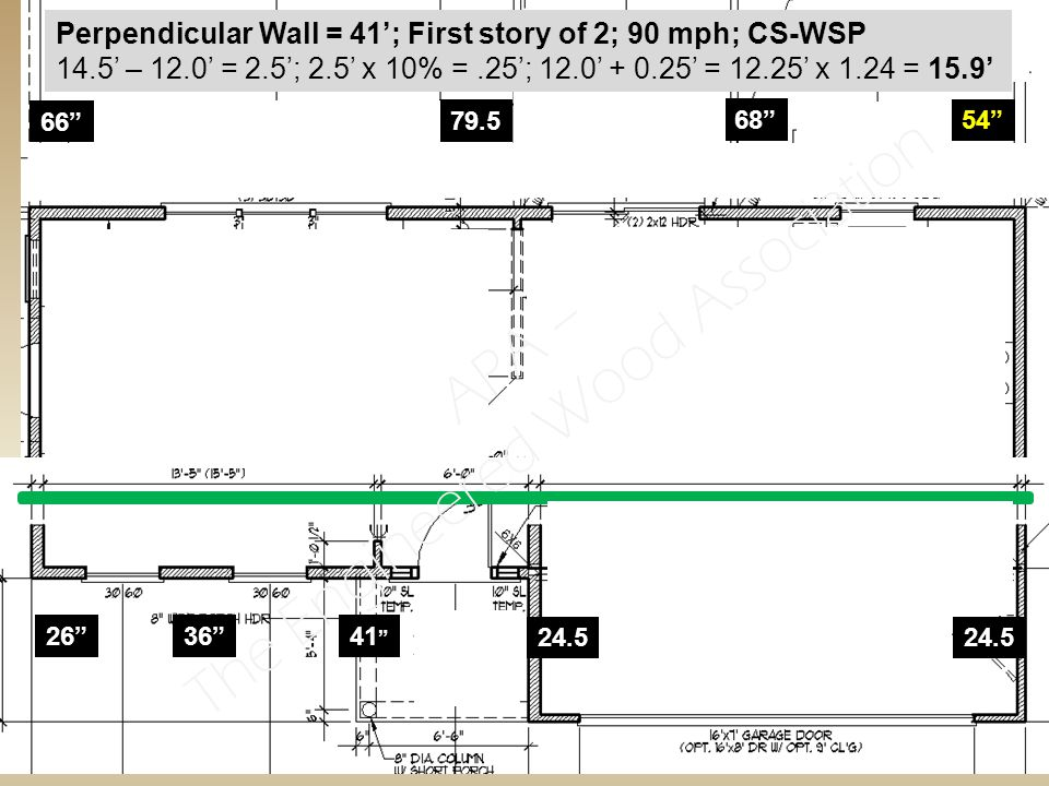 26 36 41 24.5 66 79.5 68 54 Perpendicular Wall = 41'; First story of 2; 90 mph; CS-WSP 14.5' – 12.0' = 2.5'; 2.5' x 10% =.25'; 12.0' + 0.25' = 12.25' x 1.24 = 15.9' APA – The Engineered Wood Association
