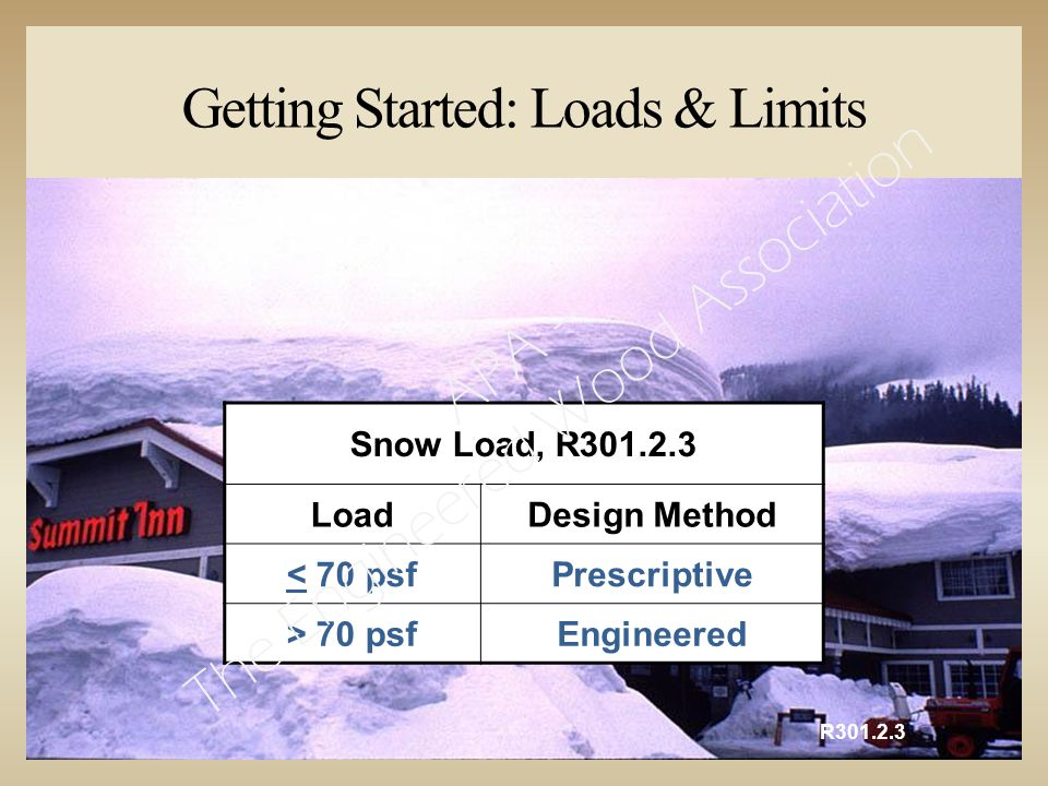 Getting Started: Loads & Limits R301.2.3 Snow Load, R301.2.3 LoadDesign Method < 70 psfPrescriptive > 70 psfEngineered APA – The Engineered Wood Association