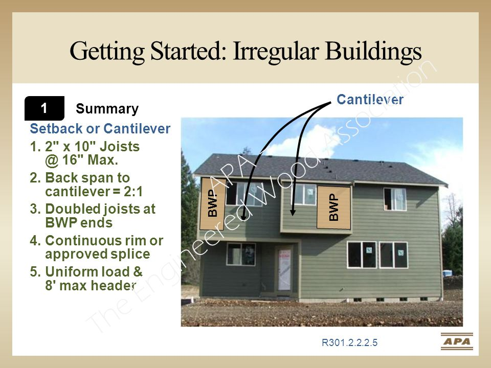 Getting Started: Irregular Buildings Setback or Cantilever 1.2 x 10 Joists @ 16 Max.