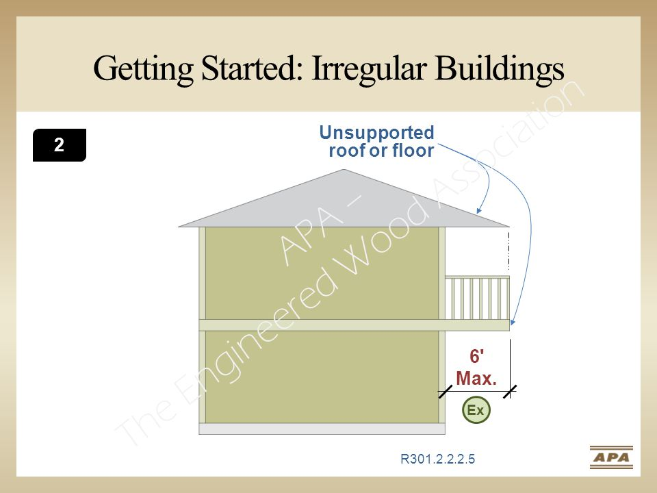 6' Max. Getting Started: Irregular Buildings Unsupported roof or floor R301.2.2.2.5 2 Ex Hide slide for half day versionSlide for high seismic present