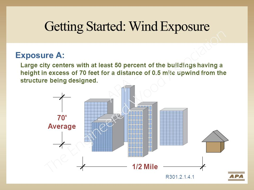 Getting Started: Wind Exposure Exposure A: Large city centers with at least 50 percent of the buildings having a height in excess of 70 feet for a distance of 0.5 mile upwind from the structure being designed.