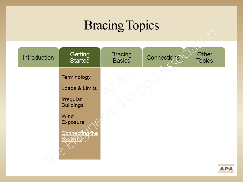 Bracing Topics Introduction Getting Started Bracing Basics Connections Other Topics Terminology Loads & Limits Irregular Buildings Wind Exposure Connecting the Systems APA – The Engineered Wood Association