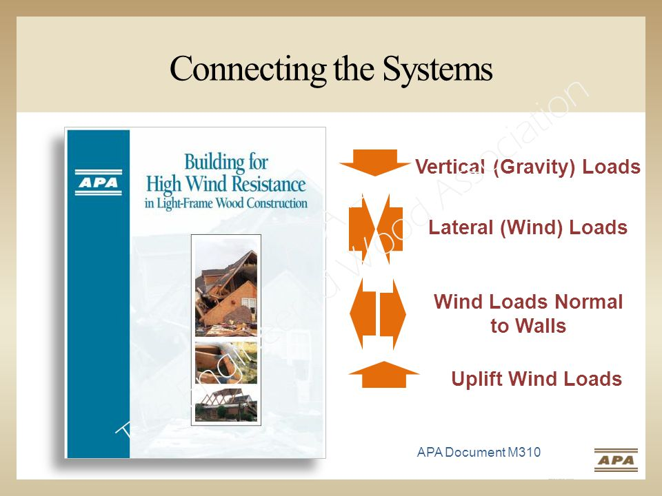Vertical (Gravity) Loads Connecting the Systems Lateral (Wind) Loads Uplift Wind Loads Wind Loads Normal to Walls APA Document M310 APA – The Engineered Wood Association