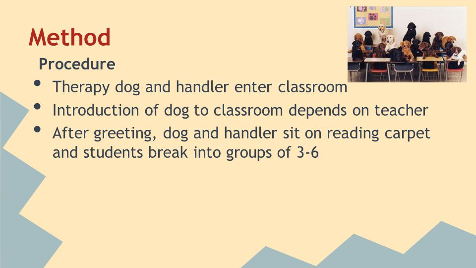 Method Procedure Therapy dog and handler enter classroom Introduction of dog to classroom depends on teacher After greeting, dog and handler sit on re