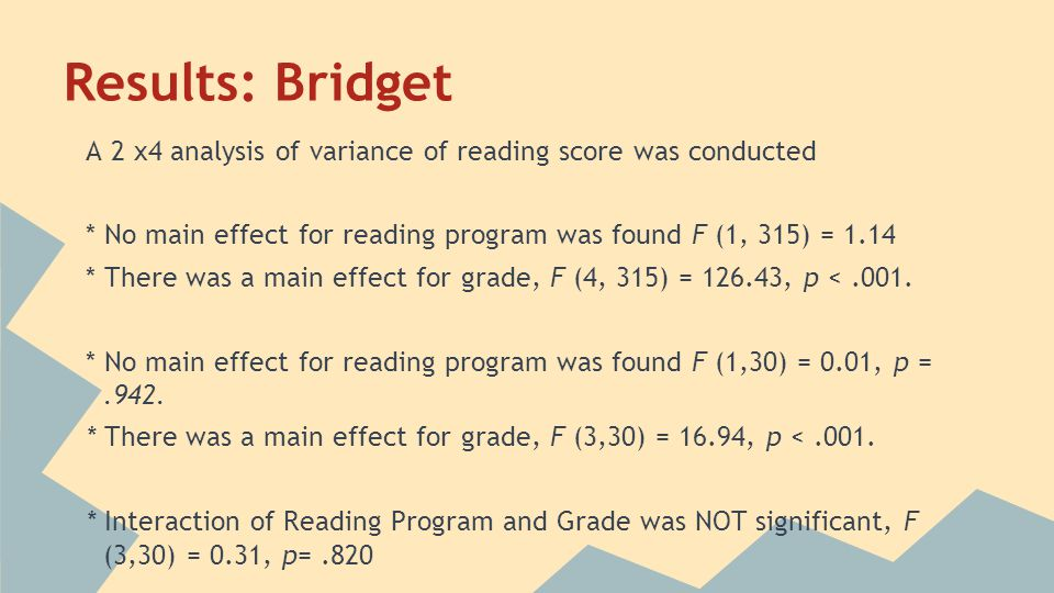 Results: Bridget A 2 x4 analysis of variance of reading score was conducted * No main effect for reading program was found F (1, 315) = 1.14 * There was a main effect for grade, F (4, 315) = 126.43, p <.001.