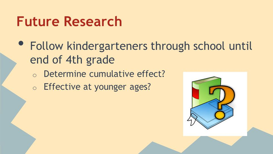Future Research Follow kindergarteners through school until end of 4th grade o Determine cumulative effect? o Effective at younger ages?