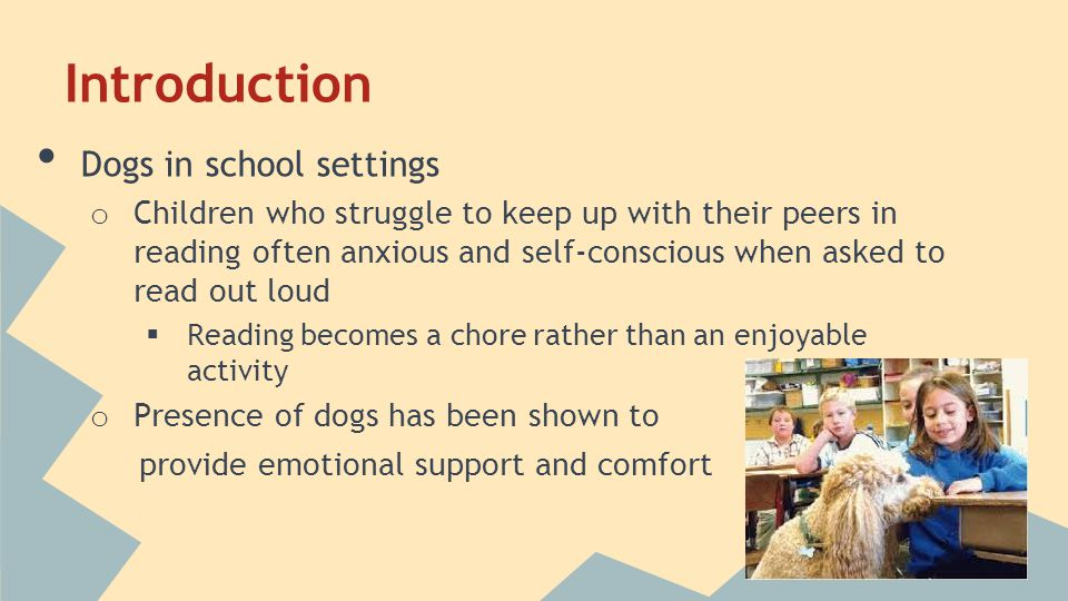 Introduction Dogs in school settings o Children who struggle to keep up with their peers in reading often anxious and self-conscious when asked to read out loud  Reading becomes a chore rather than an enjoyable activity o Presence of dogs has been shown to provide emotional support and comfort