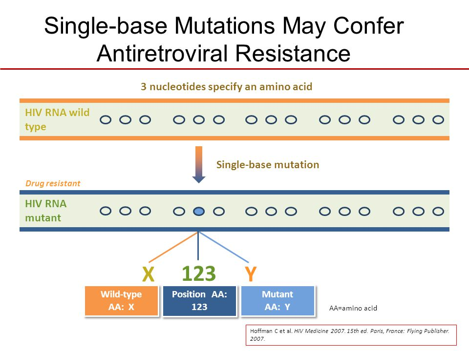 HIV RNA mutant Drug resistant Single-base Mutations May Confer Antiretroviral Resistance 123 Position AA: 123 Mutant AA: Y Y Wild-type AA: X X 3 nucle