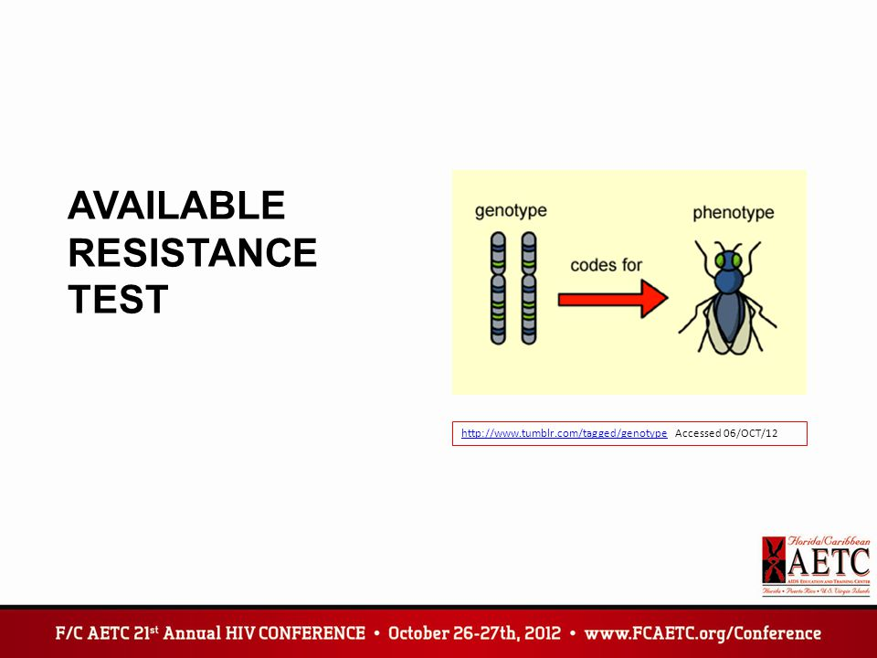 AVAILABLE RESISTANCE TEST http://www.tumblr.com/tagged/genotypehttp://www.tumblr.com/tagged/genotype Accessed 06/OCT/12