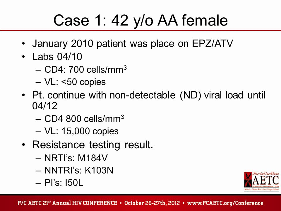 Case 1: 42 y/o AA female January 2010 patient was place on EPZ/ATV Labs 04/10 –CD4: 700 cells/mm 3 –VL: <50 copies Pt. continue with non-detectable (N