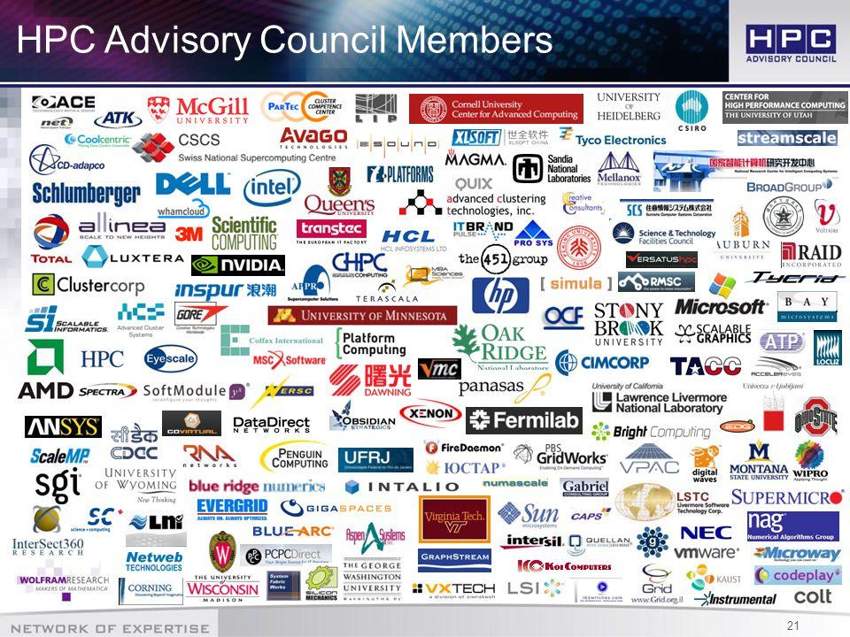 21 HPC Advisory Council Members