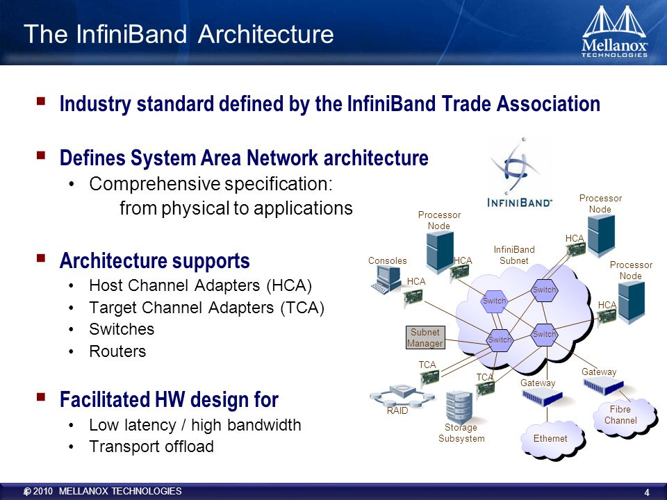 © 2010 MELLANOX TECHNOLOGIES 4 4 The InfiniBand Architecture  Industry standard defined by the InfiniBand Trade Association  Defines System Area Network architecture Comprehensive specification: from physical to applications  Architecture supports Host Channel Adapters (HCA) Target Channel Adapters (TCA) Switches Routers  Facilitated HW design for Low latency / high bandwidth Transport offload Processor Node InfiniBand Subnet Gateway HCA Switch Processor Node HCA TCA Storage Subsystem Consoles TCA RAID Ethernet Gateway Fibre Channel HCA Subnet Manager