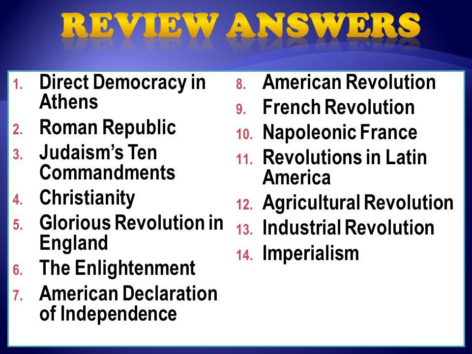 1. Direct Democracy in Athens 2. Roman Republic 3.